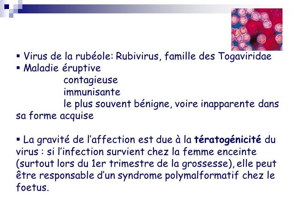 Virus de la rubéole: Rubivirus, famille des Togaviridae