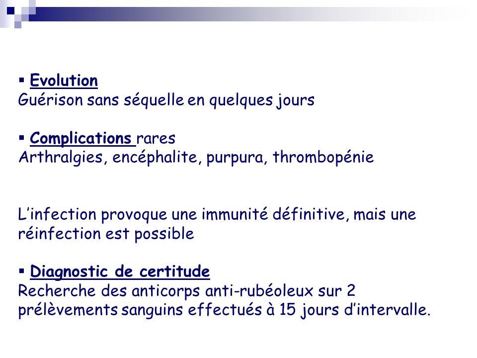 Evolution Guérison sans séquelle en quelques jours. Complications rares. Arthralgies, encéphalite, purpura, thrombopénie.