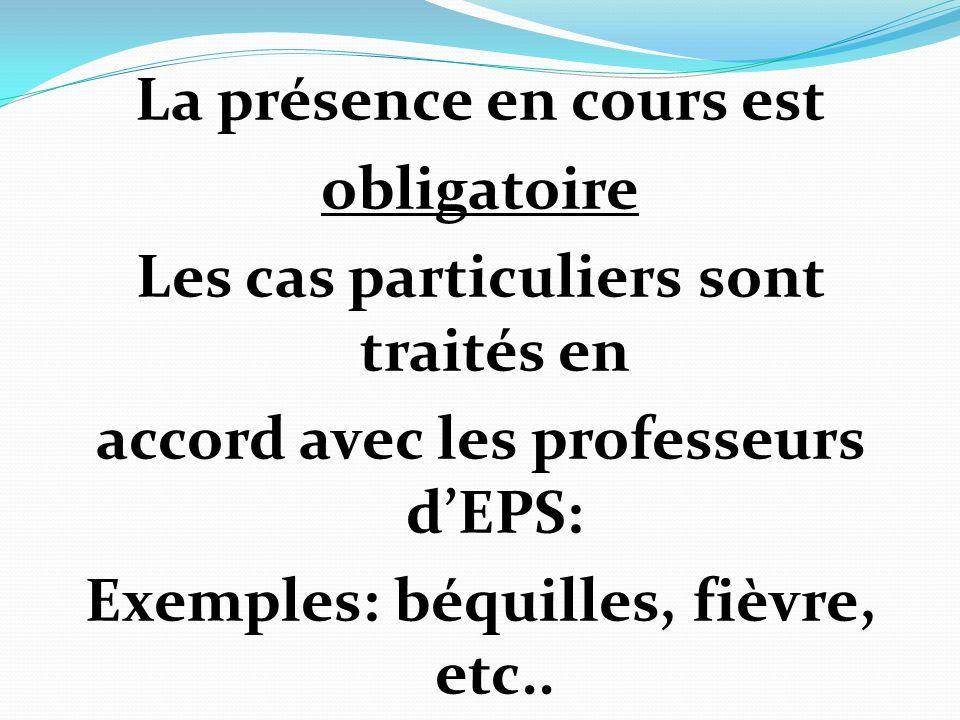 La présence en cours est obligatoire Les cas particuliers sont traités en accord avec les professeurs d'EPS: Exemples: béquilles, fièvre, etc..