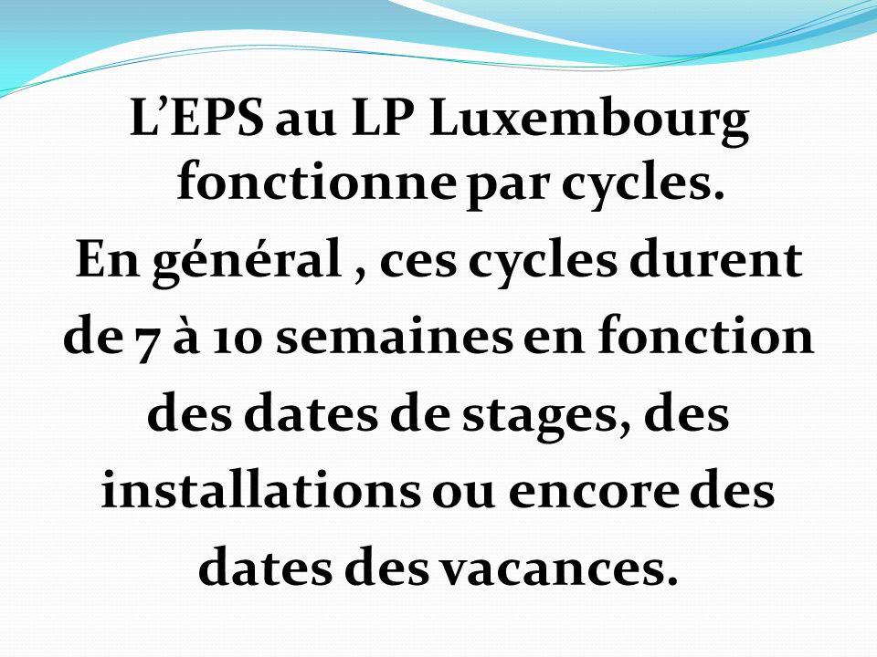 L'EPS au LP Luxembourg fonctionne par cycles