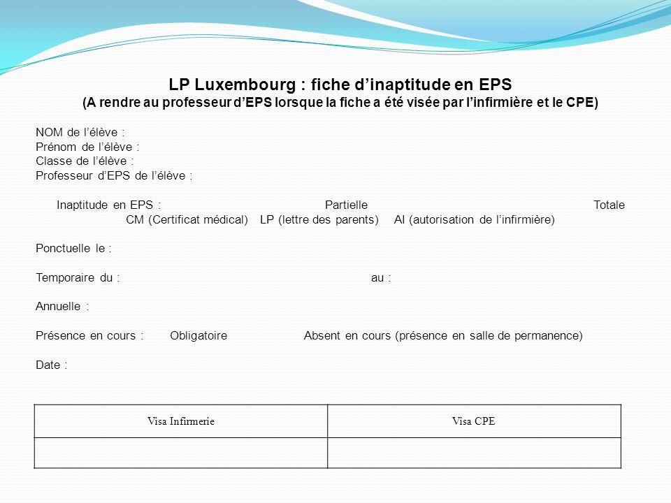 LP Luxembourg : fiche d'inaptitude en EPS