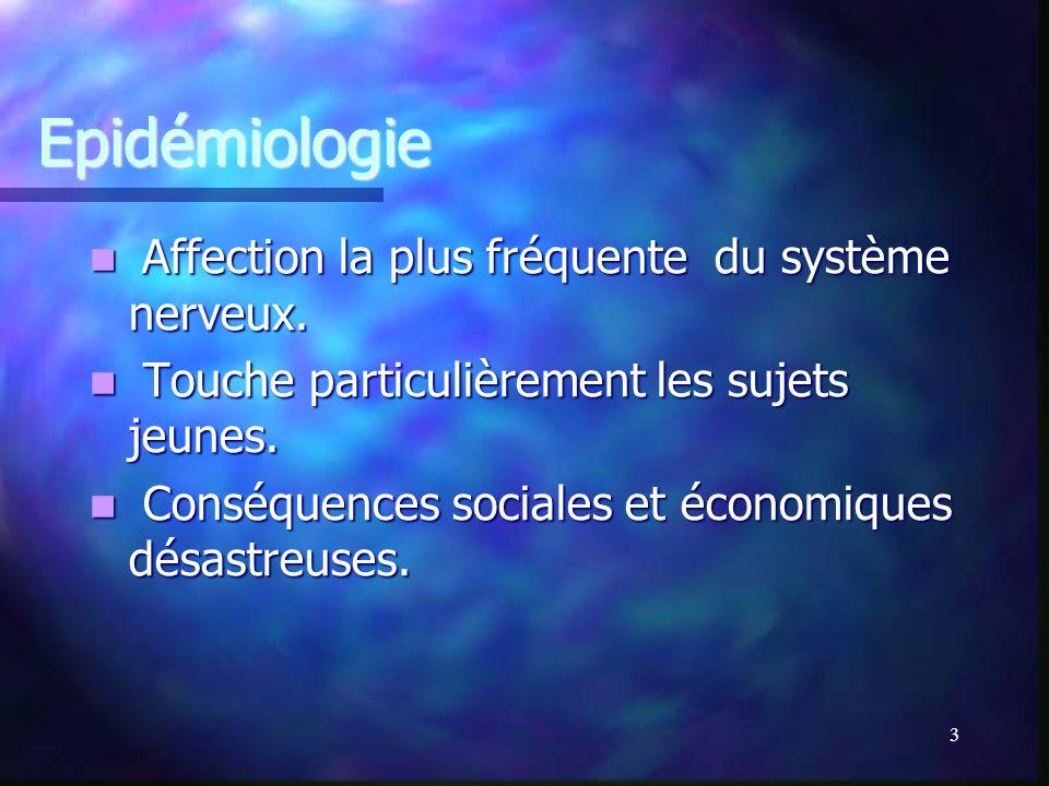 Epidémiologie Affection la plus fréquente du système nerveux.