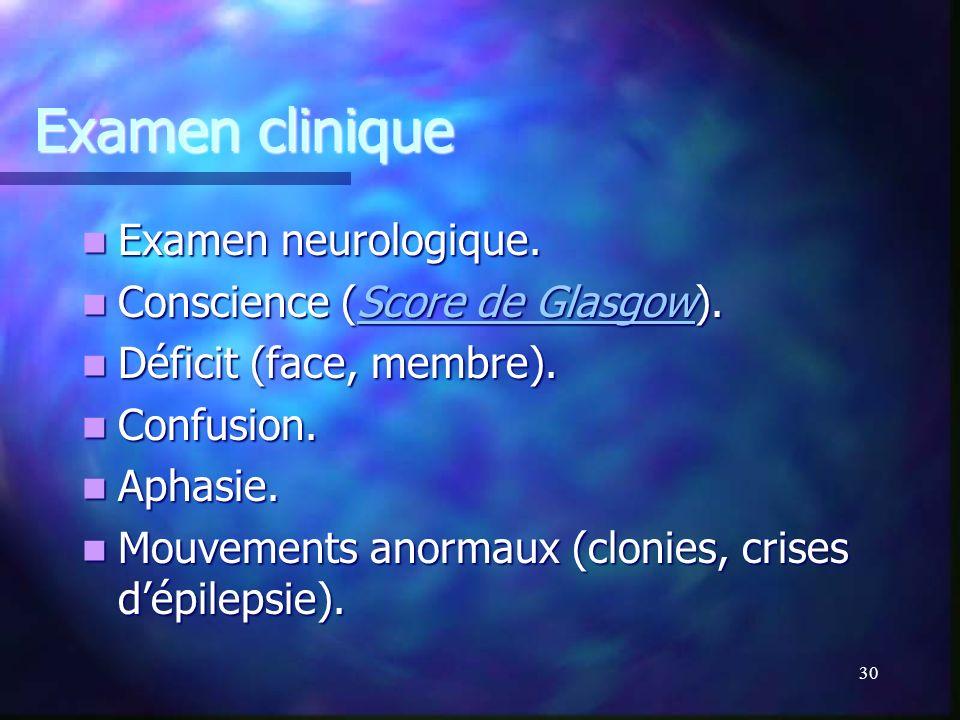 Examen clinique Examen neurologique. Conscience (Score de Glasgow).