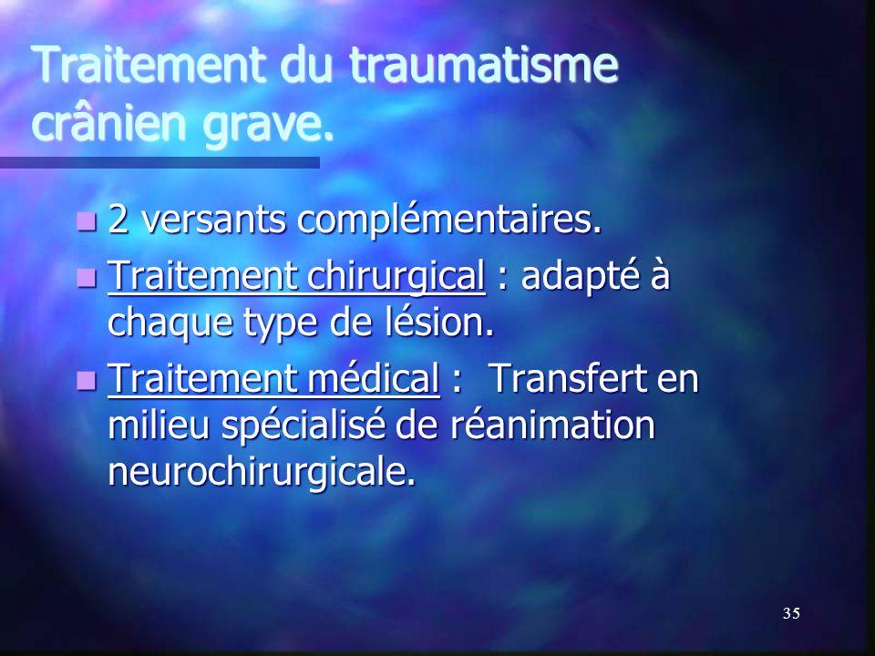 Traitement du traumatisme crânien grave.