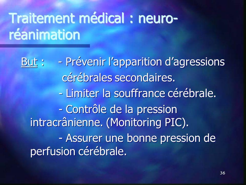 Traitement médical : neuro-réanimation