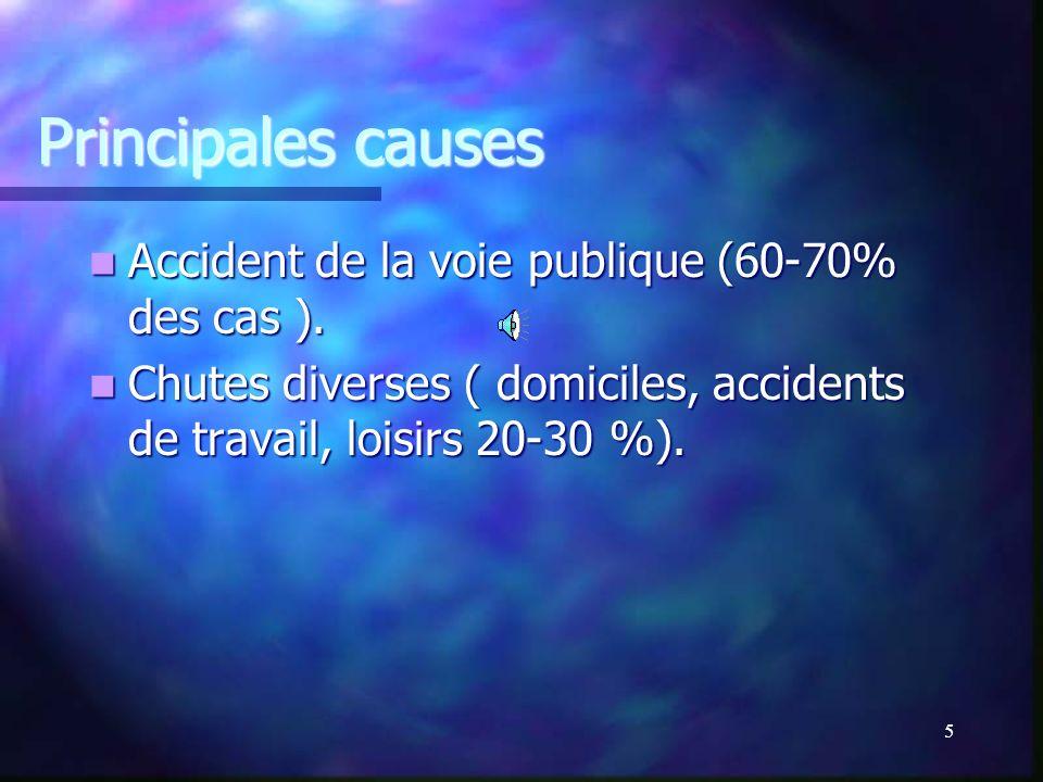 Principales causes Accident de la voie publique (60-70% des cas ).