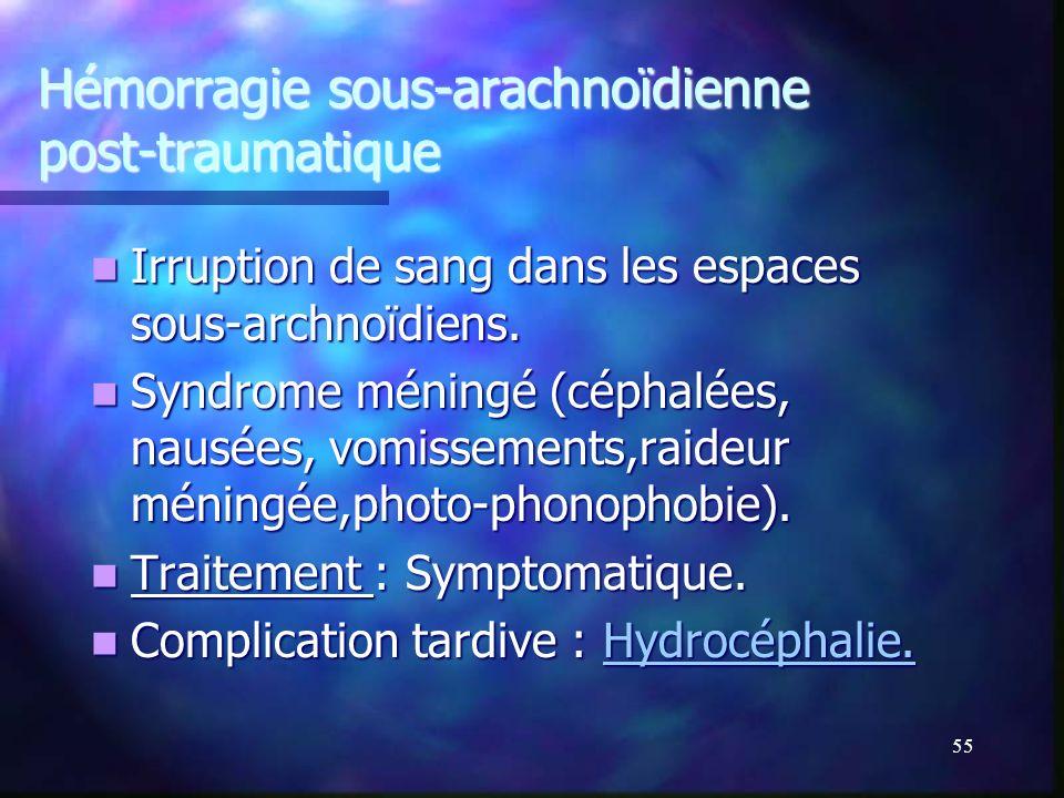 Hémorragie sous-arachnoïdienne post-traumatique