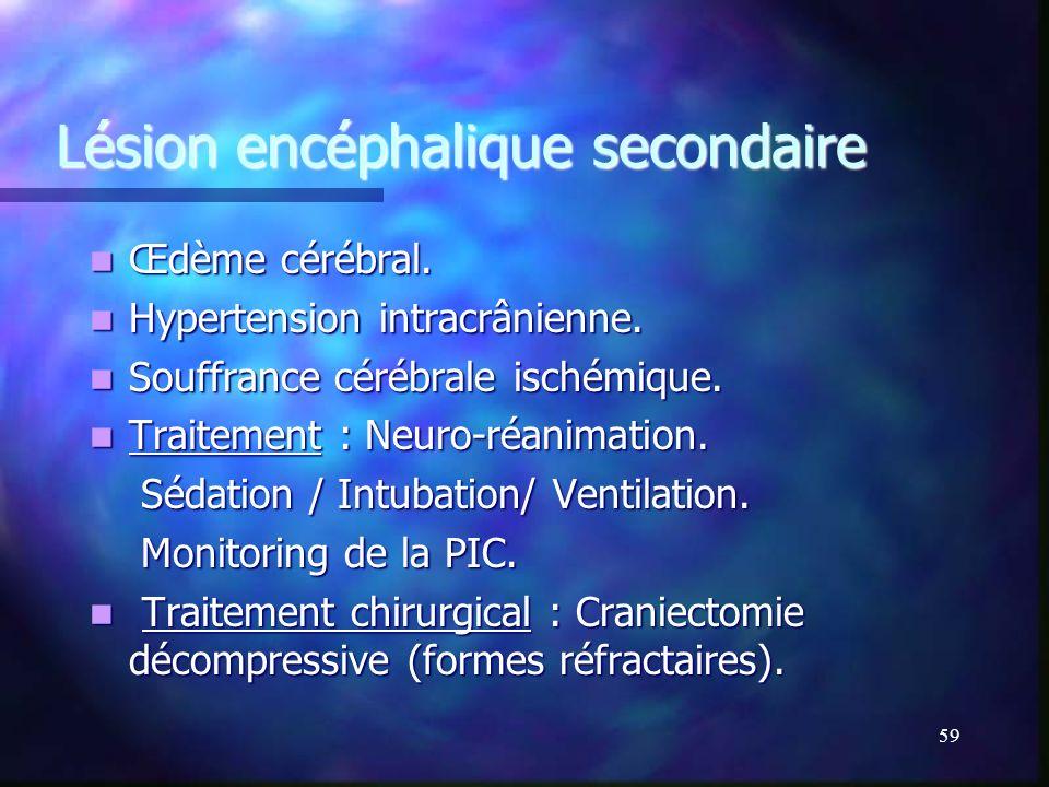 Lésion encéphalique secondaire