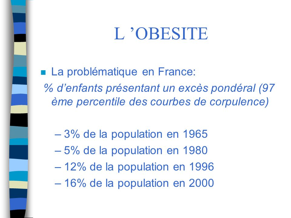 L 'OBESITE La problématique en France: