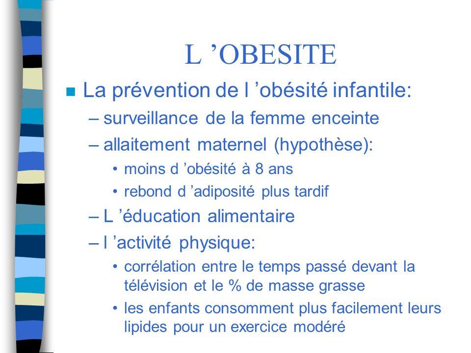L 'OBESITE La prévention de l 'obésité infantile:
