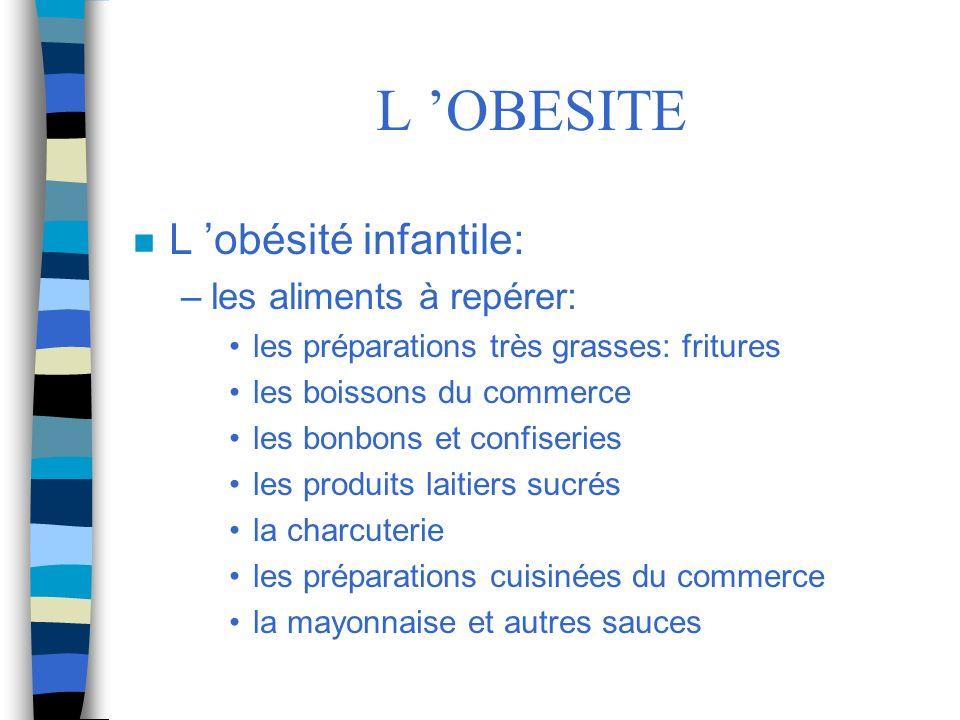 L 'OBESITE L 'obésité infantile: les aliments à repérer: