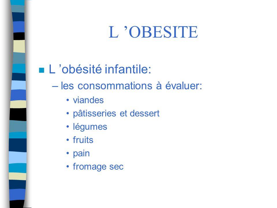 L 'OBESITE L 'obésité infantile: les consommations à évaluer: viandes