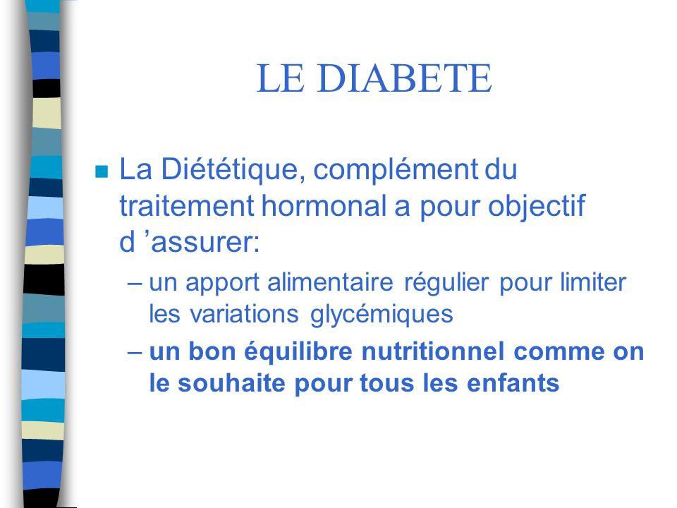 LE DIABETE La Diététique, complément du traitement hormonal a pour objectif d 'assurer:
