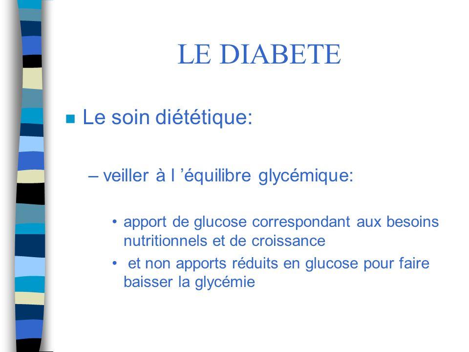 LE DIABETE Le soin diététique: veiller à l 'équilibre glycémique: