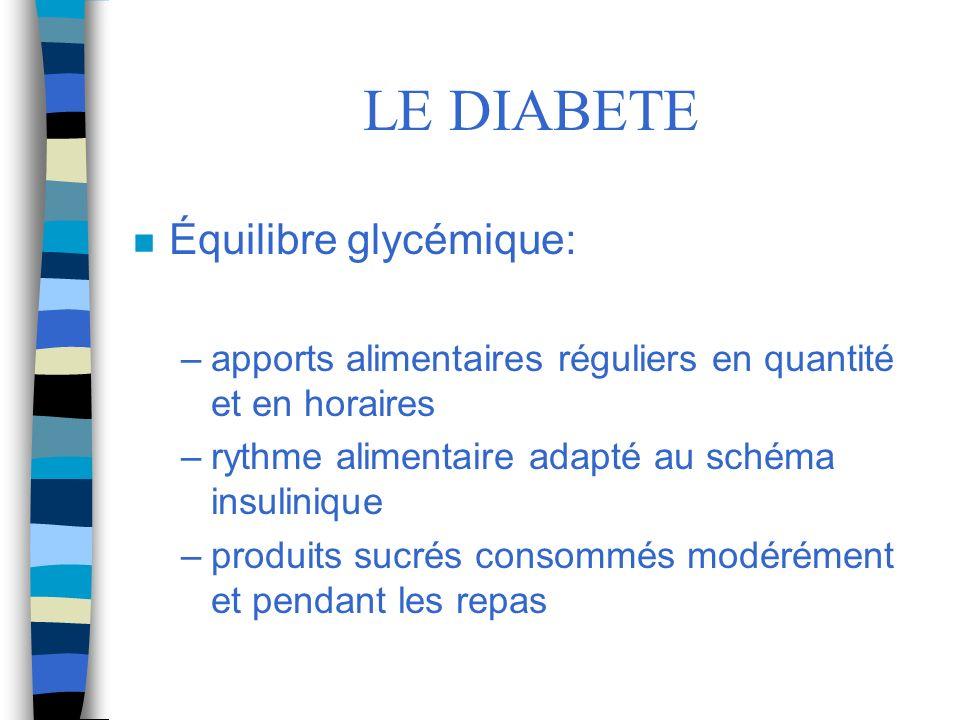LE DIABETE Équilibre glycémique: