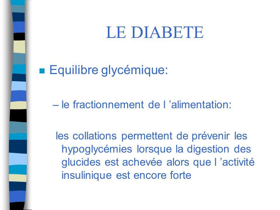 LE DIABETE Equilibre glycémique: le fractionnement de l 'alimentation: