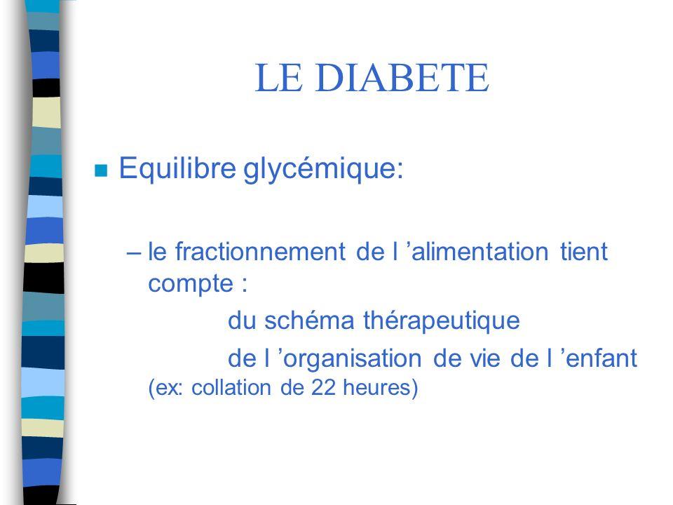 LE DIABETE Equilibre glycémique: