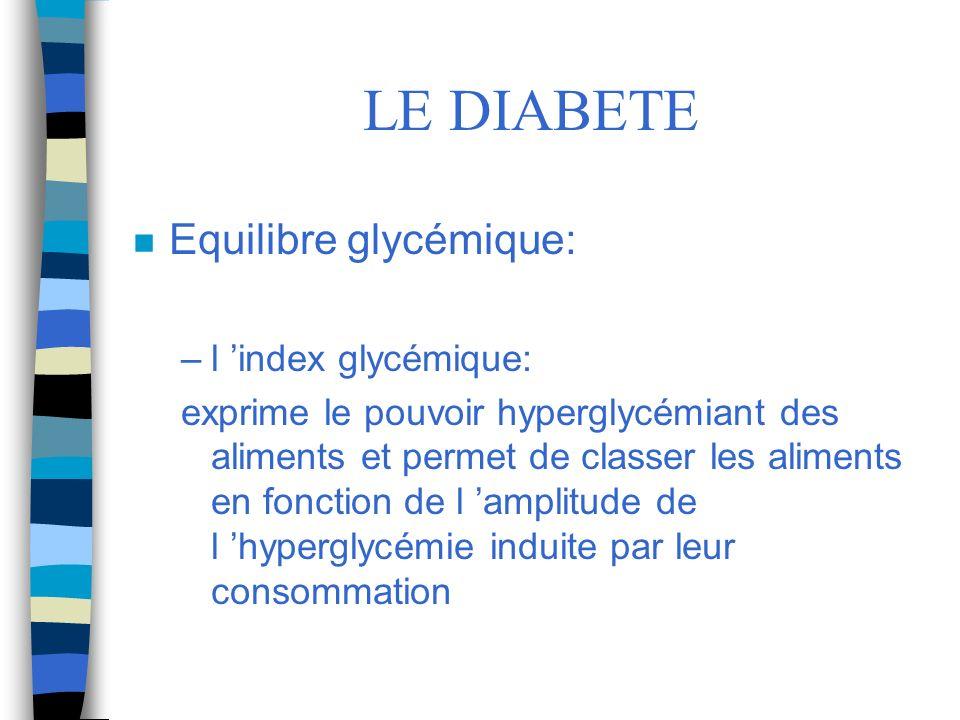 LE DIABETE Equilibre glycémique: l 'index glycémique: