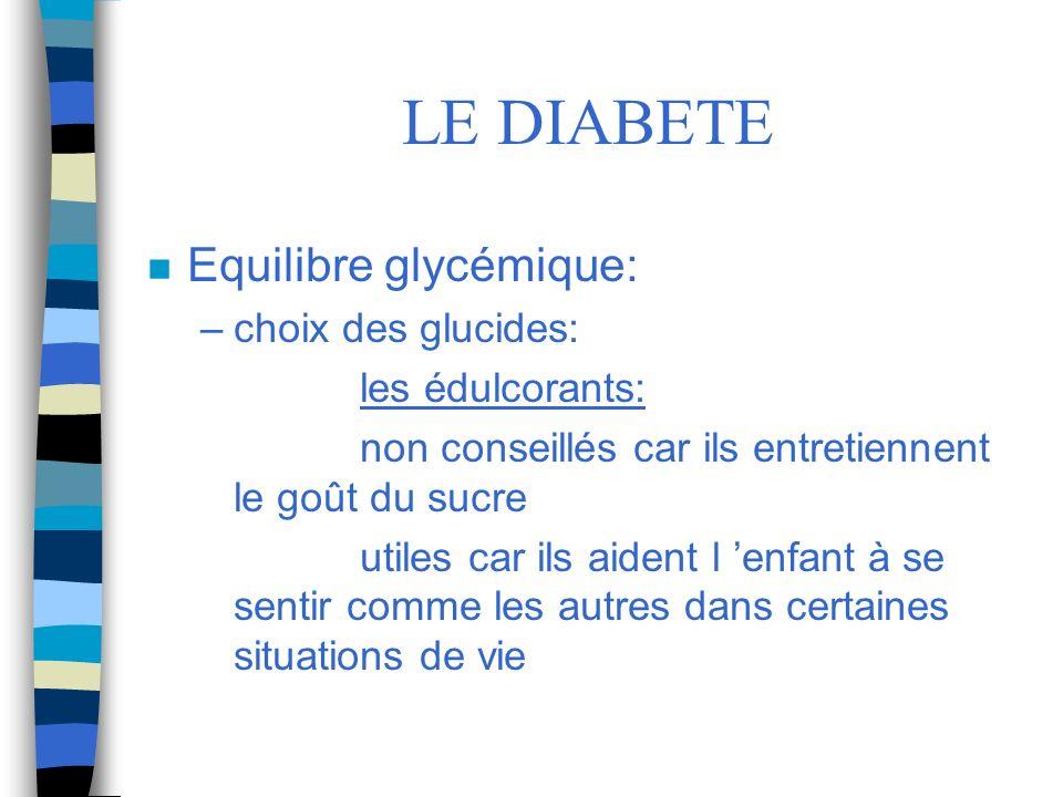 LE DIABETE Equilibre glycémique: choix des glucides: les édulcorants: