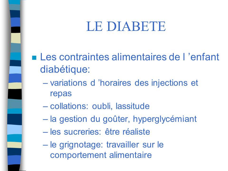 LE DIABETE Les contraintes alimentaires de l 'enfant diabétique: