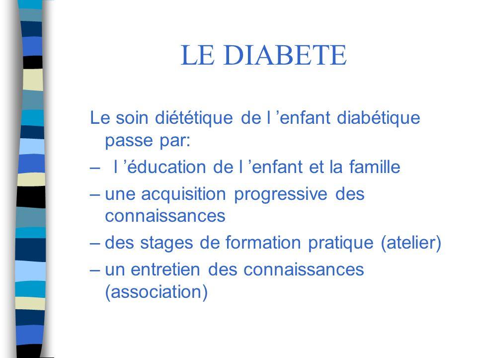 LE DIABETE Le soin diététique de l 'enfant diabétique passe par: