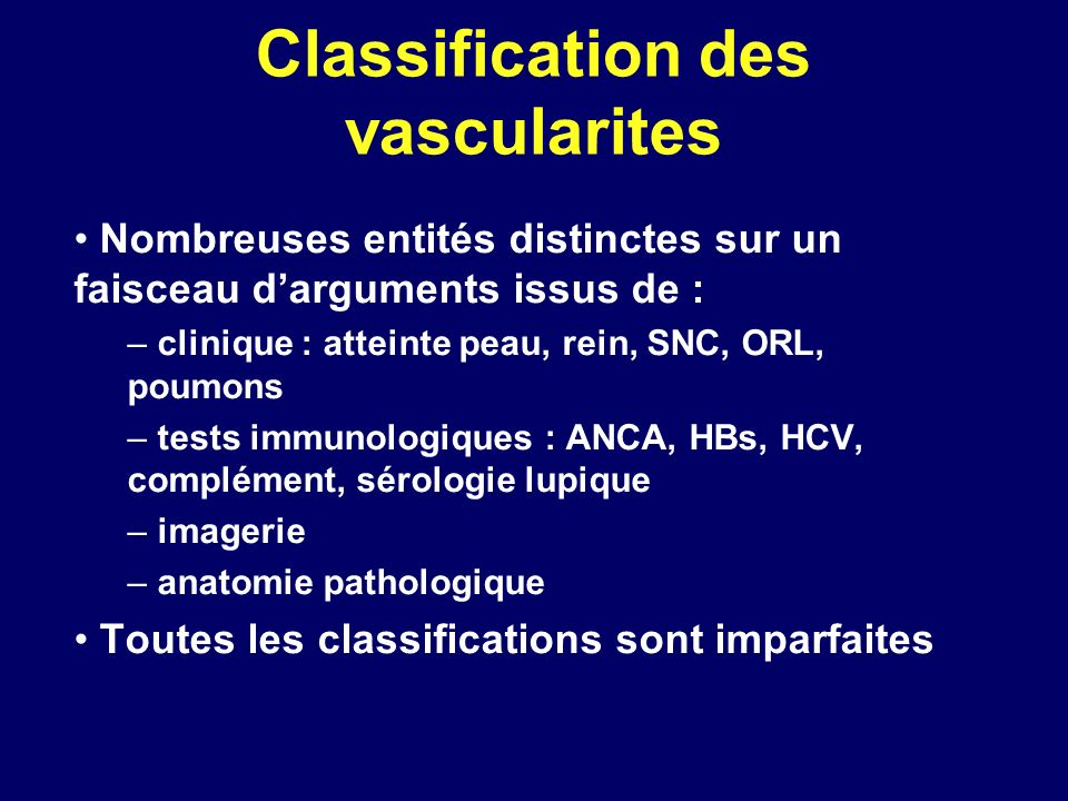 Classification des vascularites