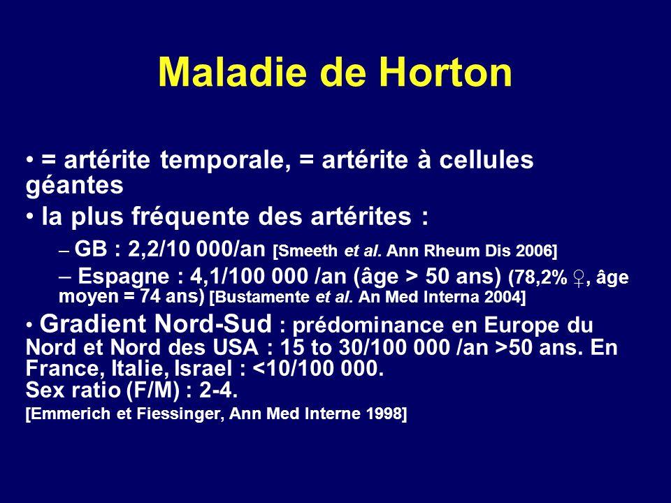 Maladie de Horton = artérite temporale, = artérite à cellules géantes