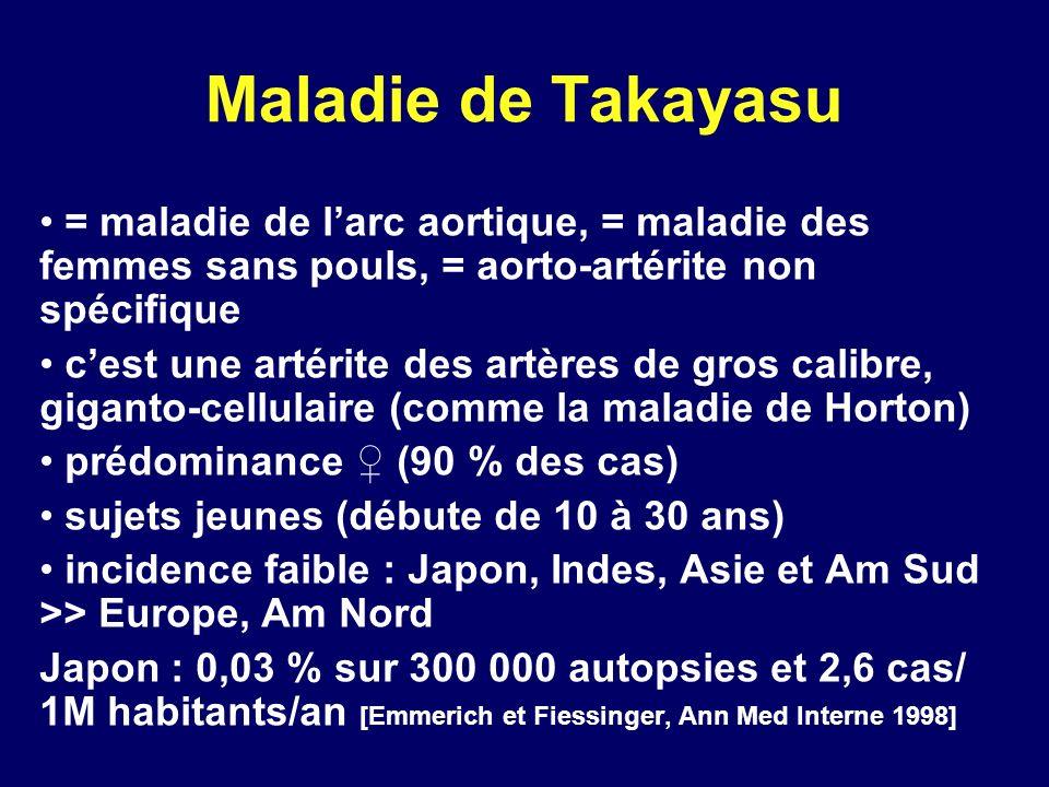 Maladie de Takayasu = maladie de l'arc aortique, = maladie des femmes sans pouls, = aorto-artérite non spécifique.