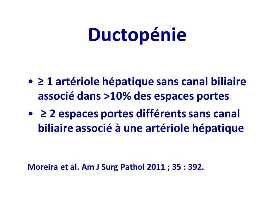 Ductopénie ≥ 1 artériole hépatique sans canal biliaire associé dans >10% des espaces portes.
