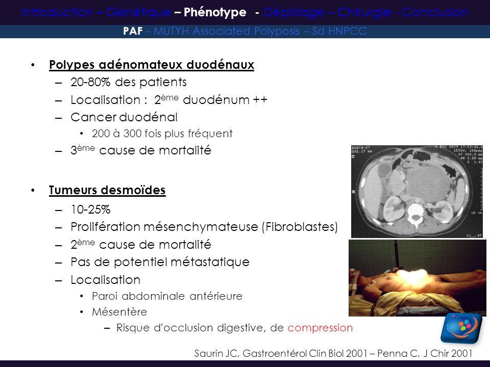 Polypes adénomateux duodénaux 20-80% des patients