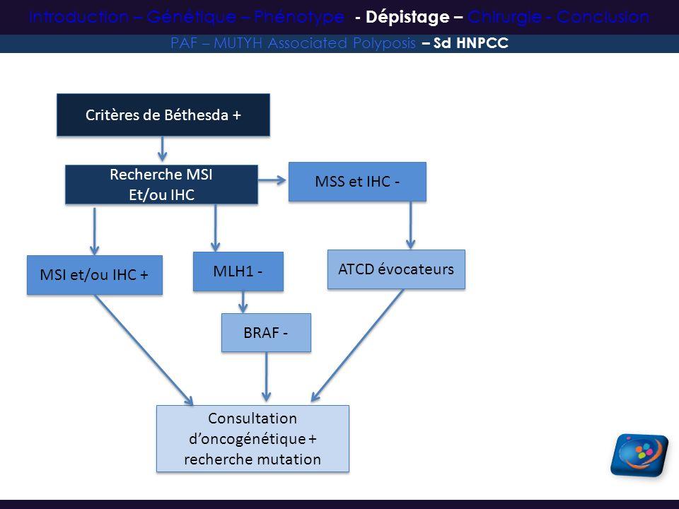 Consultation d'oncogénétique + recherche mutation