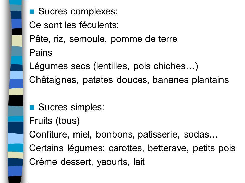 Sucres complexes: Ce sont les féculents: Pâte, riz, semoule, pomme de terre. Pains. Légumes secs (lentilles, pois chiches…)
