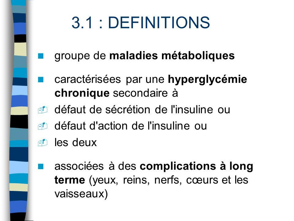 3.1 : DEFINITIONS groupe de maladies métaboliques