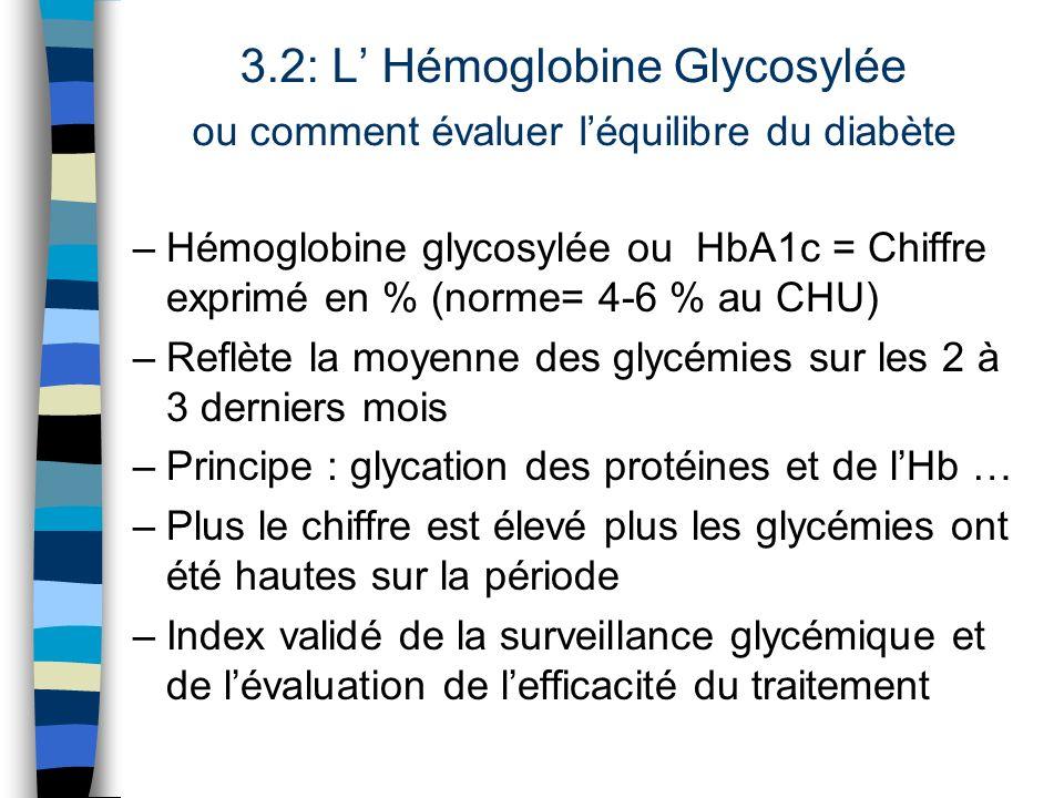 3.2: L' Hémoglobine Glycosylée ou comment évaluer l'équilibre du diabète