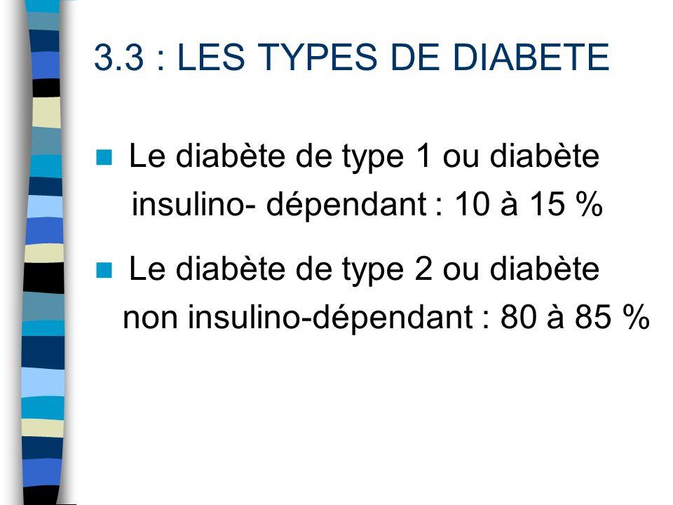 3.3 : LES TYPES DE DIABETE Le diabète de type 1 ou diabète