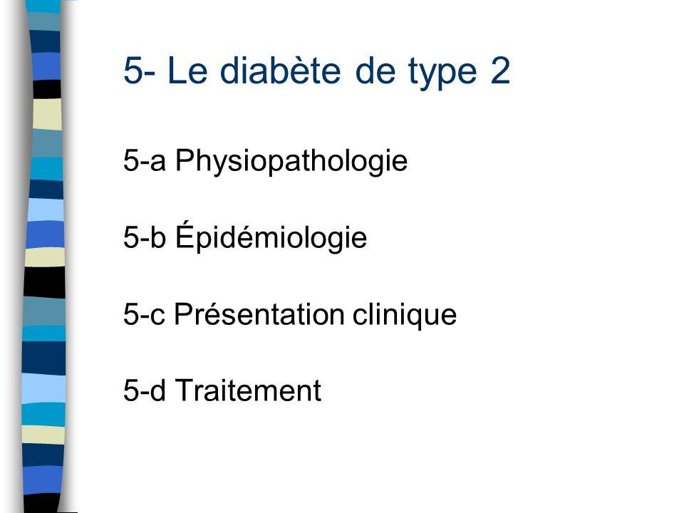 5- Le diabète de type 2 5-a Physiopathologie 5-b Épidémiologie