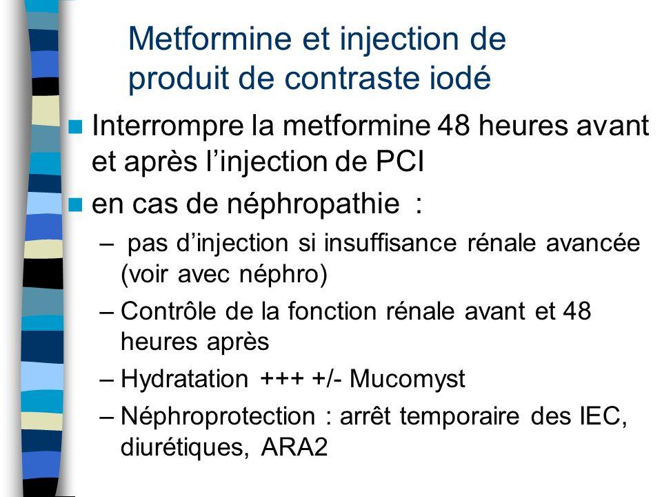 Metformine et injection de produit de contraste iodé