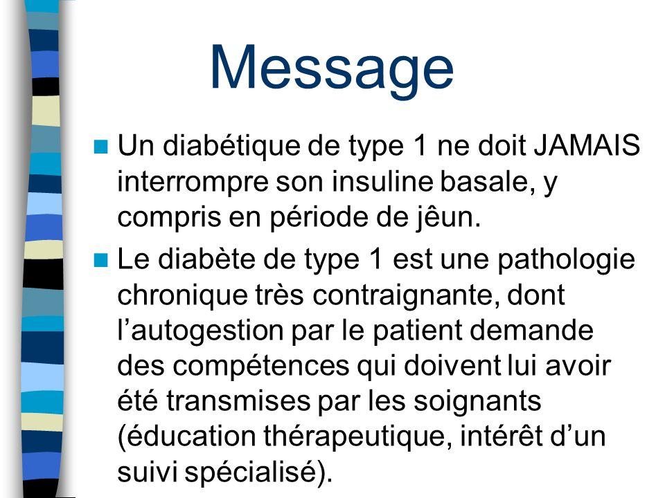 Message Un diabétique de type 1 ne doit JAMAIS interrompre son insuline basale, y compris en période de jêun.