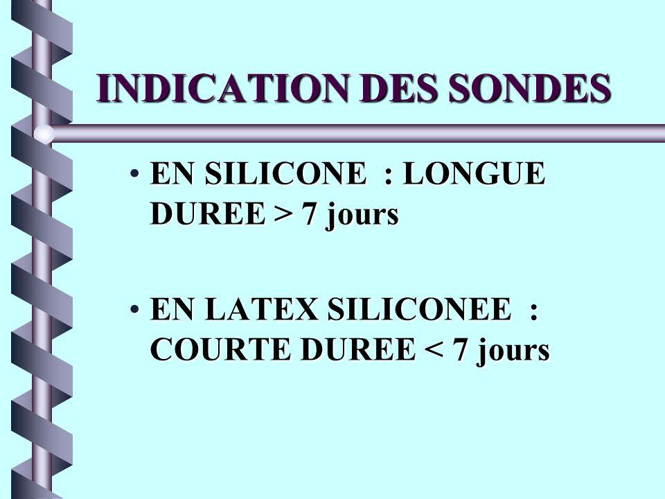 INDICATION DES SONDES EN SILICONE : LONGUE DUREE > 7 jours