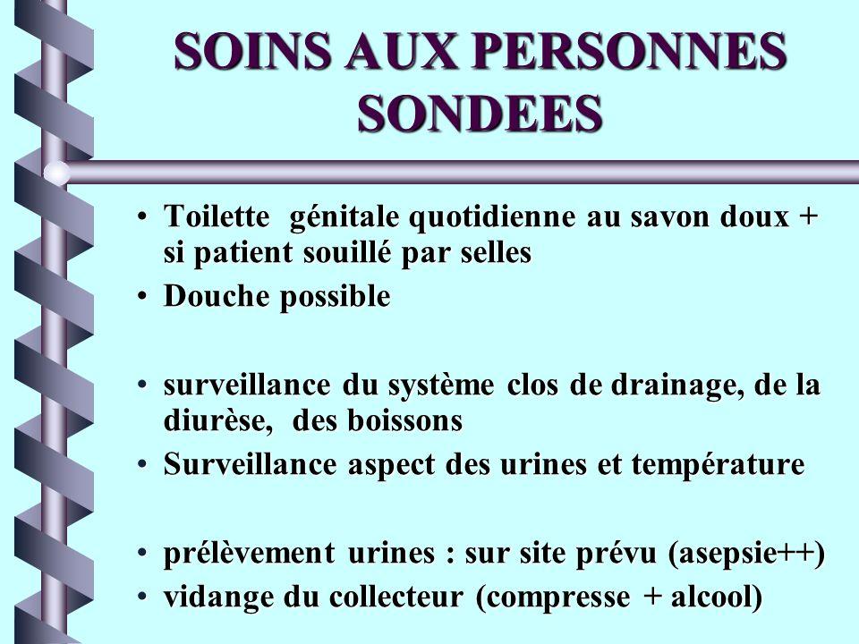 SOINS AUX PERSONNES SONDEES