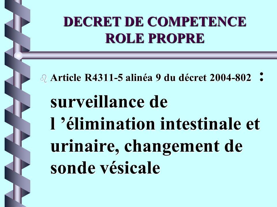 DECRET DE COMPETENCE ROLE PROPRE