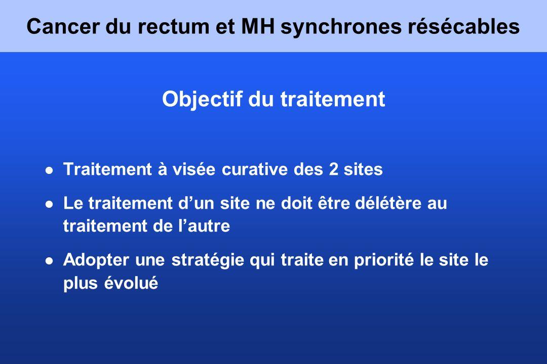 Cancer du rectum et MH synchrones résécables Objectif du traitement