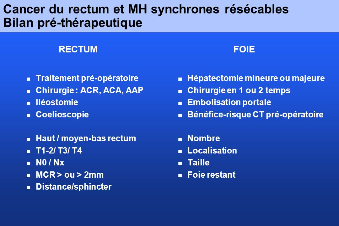 Cancer du rectum et MH synchrones résécables Bilan pré-thérapeutique