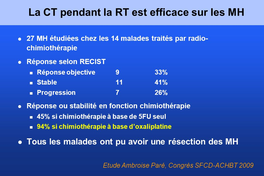 La CT pendant la RT est efficace sur les MH