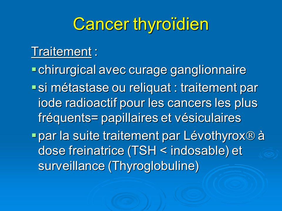 Cancer thyroïdien Traitement : chirurgical avec curage ganglionnaire