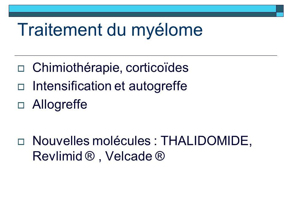 Traitement du myélome Chimiothérapie, corticoïdes