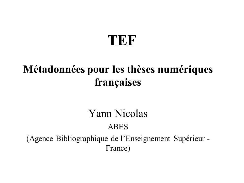 Métadonnées pour les thèses numériques françaises