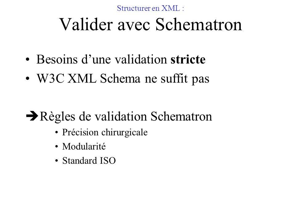 Structurer en XML : Valider avec Schematron
