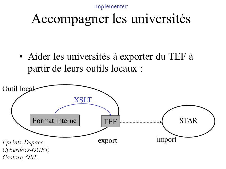 Implementer: Accompagner les universités