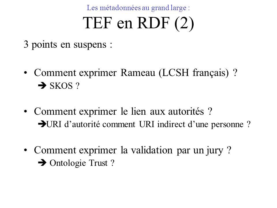 Les métadonnées au grand large : TEF en RDF (2)